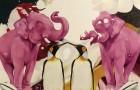 Two pink elephants. ACCEDE A SUBASTA