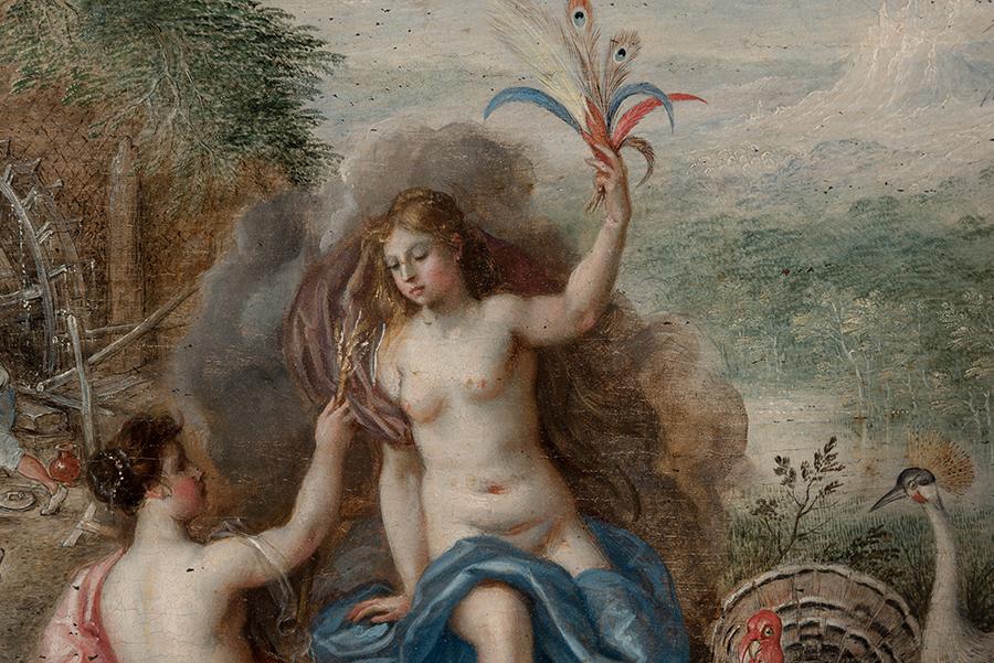 Detalles figura de Juno, diosa protectora de las aves.