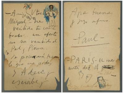 Lote; 35086582. Carta manuscrita de Picasso a Miquel Utrillo, con dibujo original de Picasso, 1901.