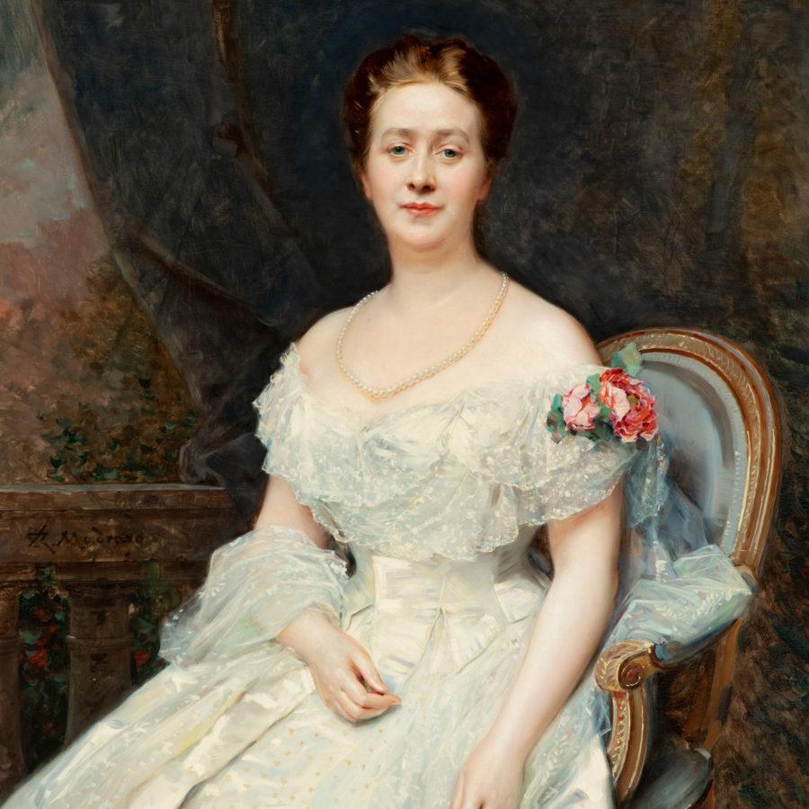 """RAIMUNDO DE MADRAZO Y GARRETA (Roma, 1841 – Versalles, 1920). """"Retrato de la condesa Mosella"""". Fecha de subasta27 de Mayo."""