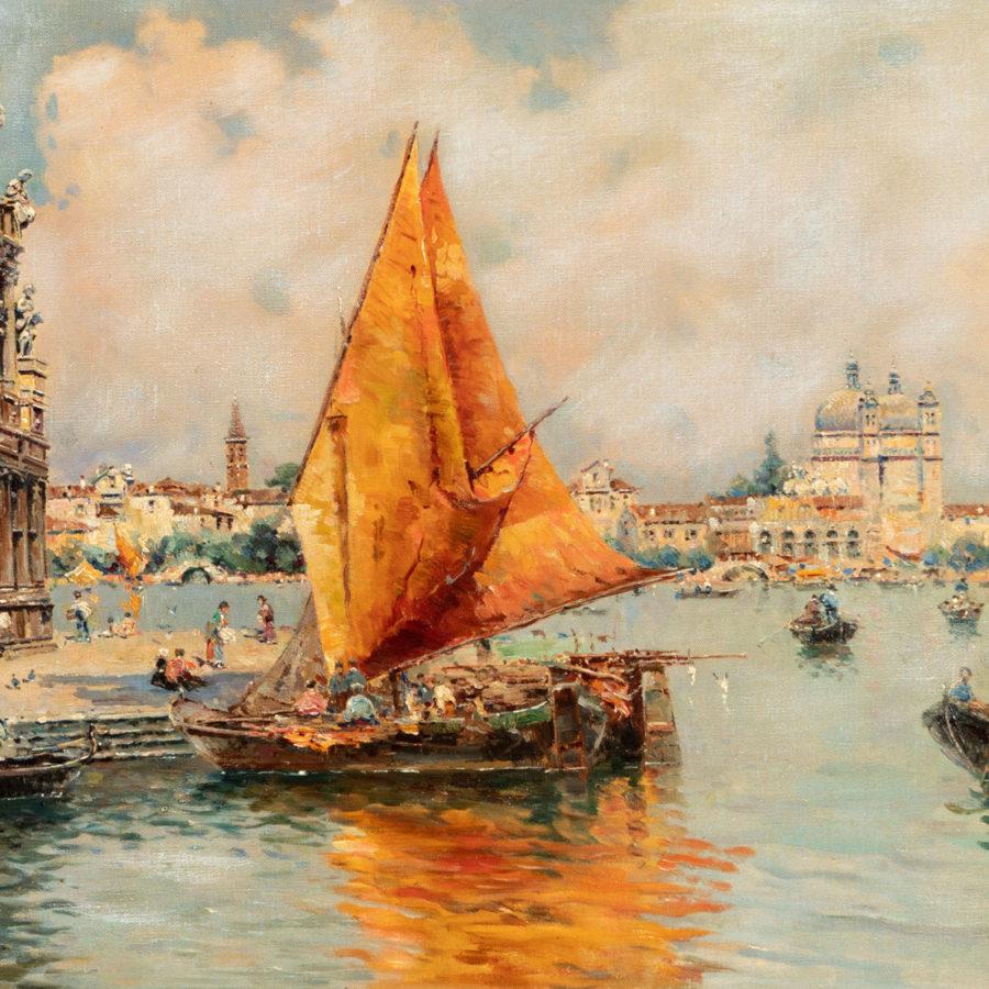 """ANTONIO REYNA MANESCAU (Coín, Málaga, 1859 – Roma, 1937). """"La Giudecca"""", Canal de Venecia. Fecha de subasta 27 de Mayo."""