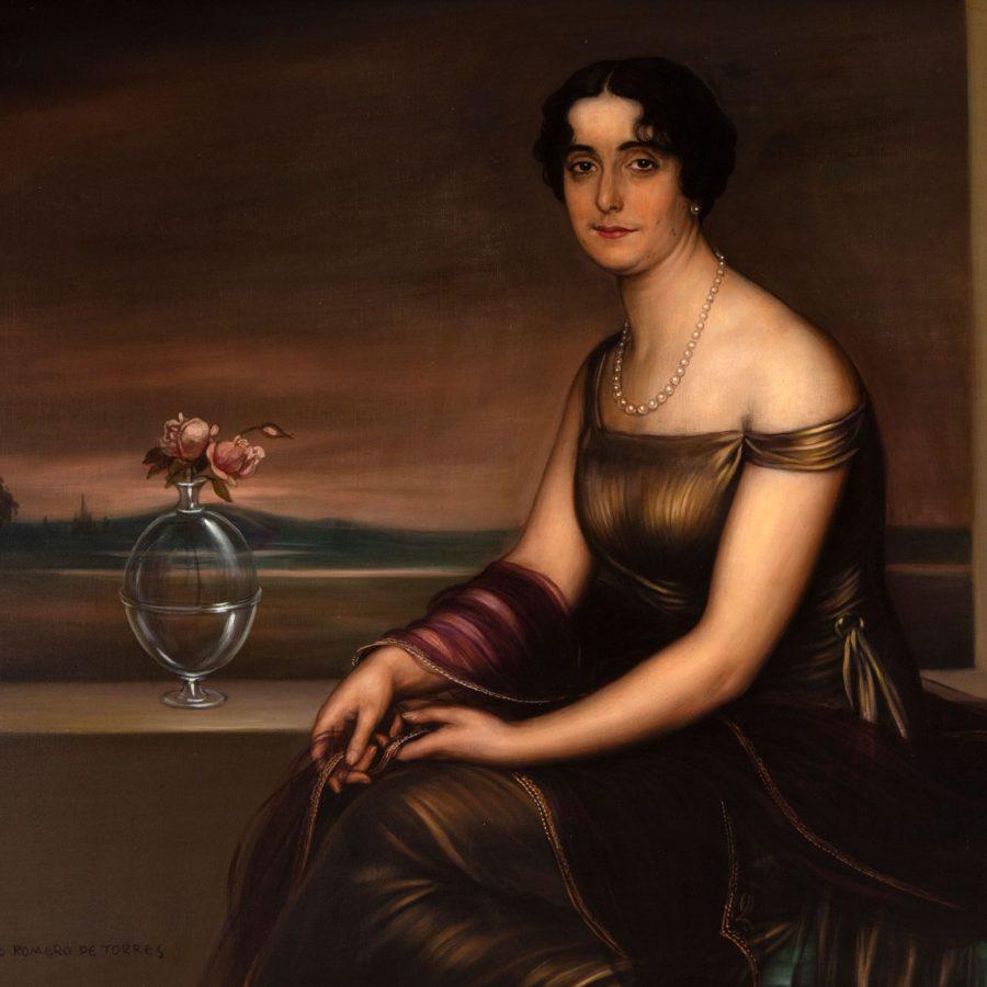 """JULIO ROMERO DE TORRES (Córdoba, 1874 – 1930). """"Retrato de dama con jarrón de cristal"""". Fecha subasta 27 de Mayo."""