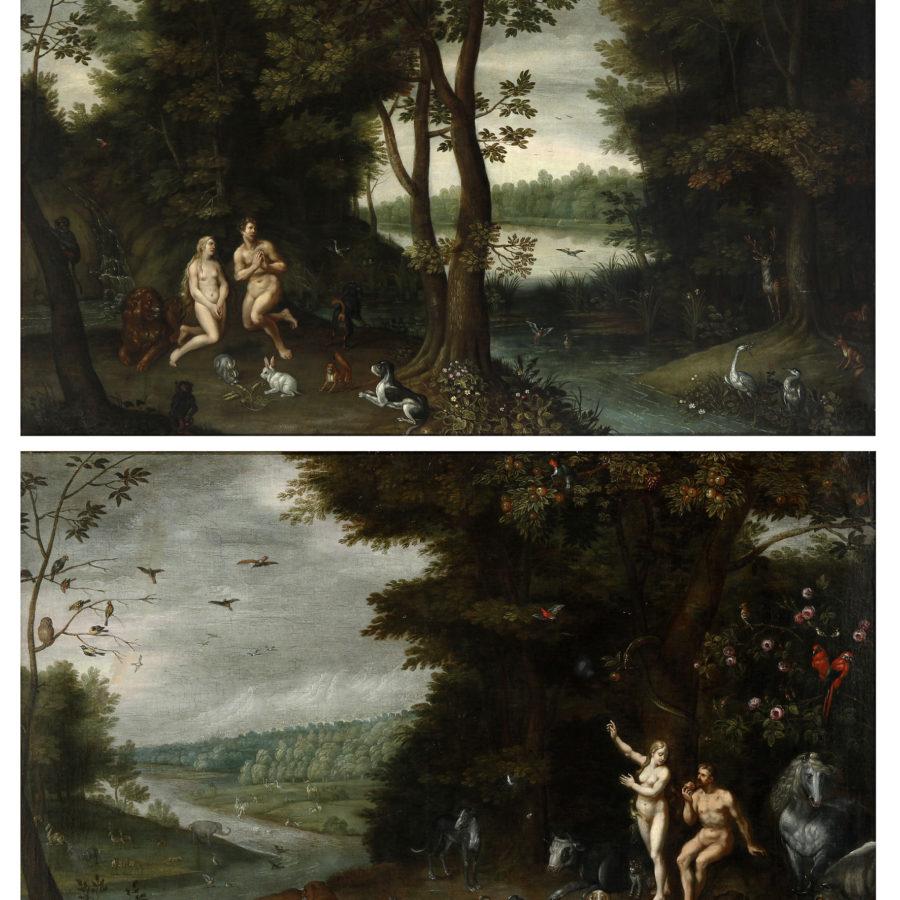 """Atribuido a Brueghel, """"El Pecado Original"""" y """"Adán y Eva expulsados del Paraíso"""", 1692. Adjudicado en Setdart."""