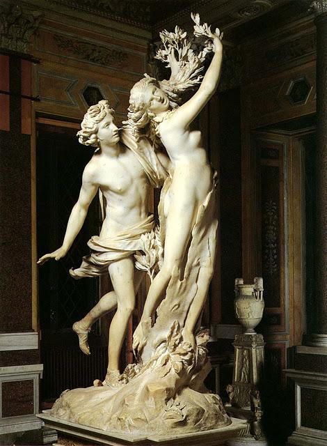Apolo y Dafne de Bernini. expuesto en la Galería Borghese.