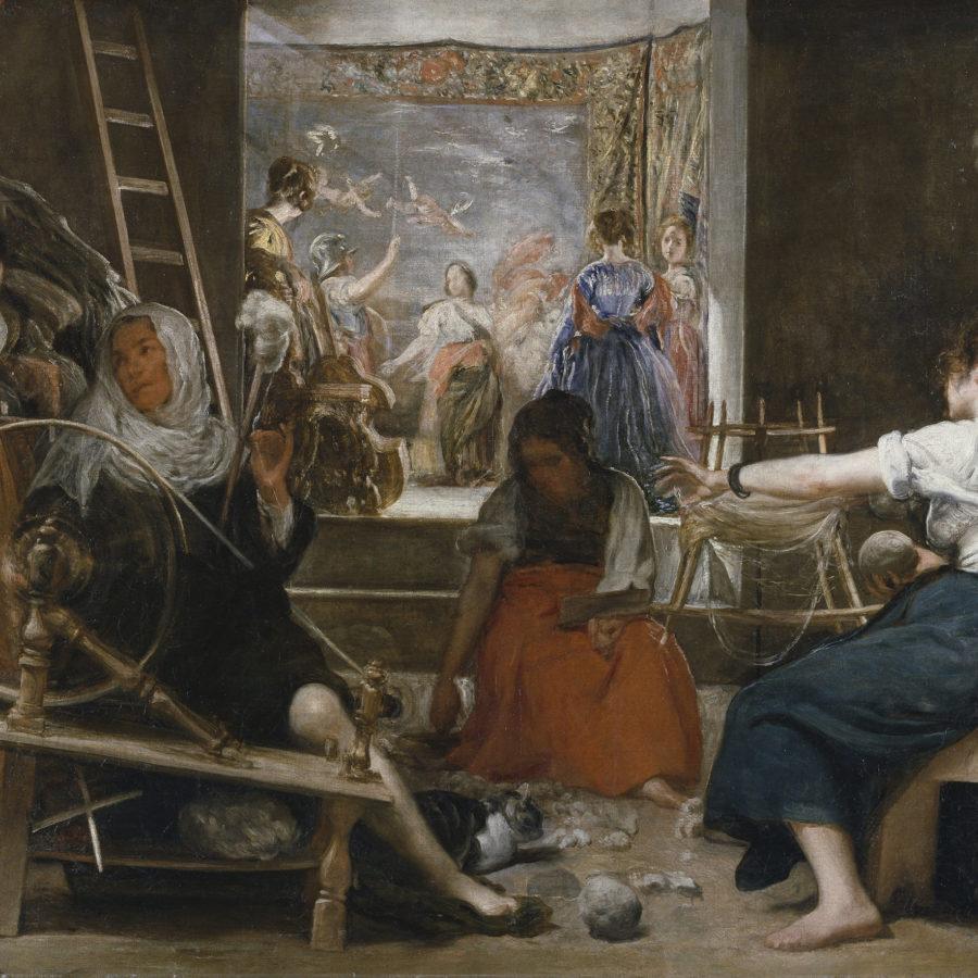 """La fábula de Aracne, popularmente conocido como """"Las hilanderas"""" de Diego Velázquez."""