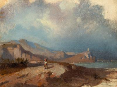 """Lote 35103782 MARIANO FORTUNY MARSAL (Reus, Tarragona, 1838 – Roma, 1874). """"Paisaje con figura"""", ca. 1854-1855."""