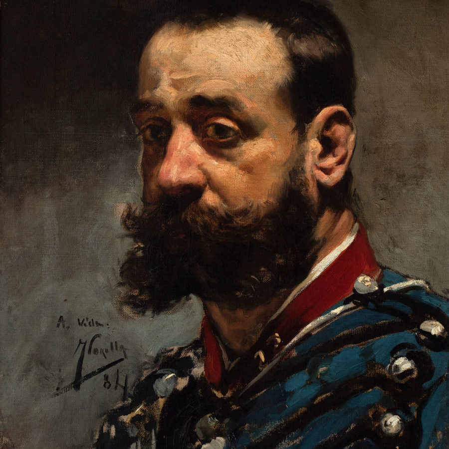 """Lote:35130558. JOAQUÍN SOROLLA Y BASTIDA (Valencia, 1863 – Cercedilla, Madrid, 1923). """"Retrato de caballero con uniforme"""", 1884."""