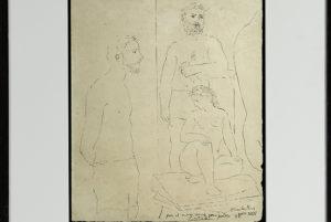 Dibujo de Picasso, el escultor y la modelo.
