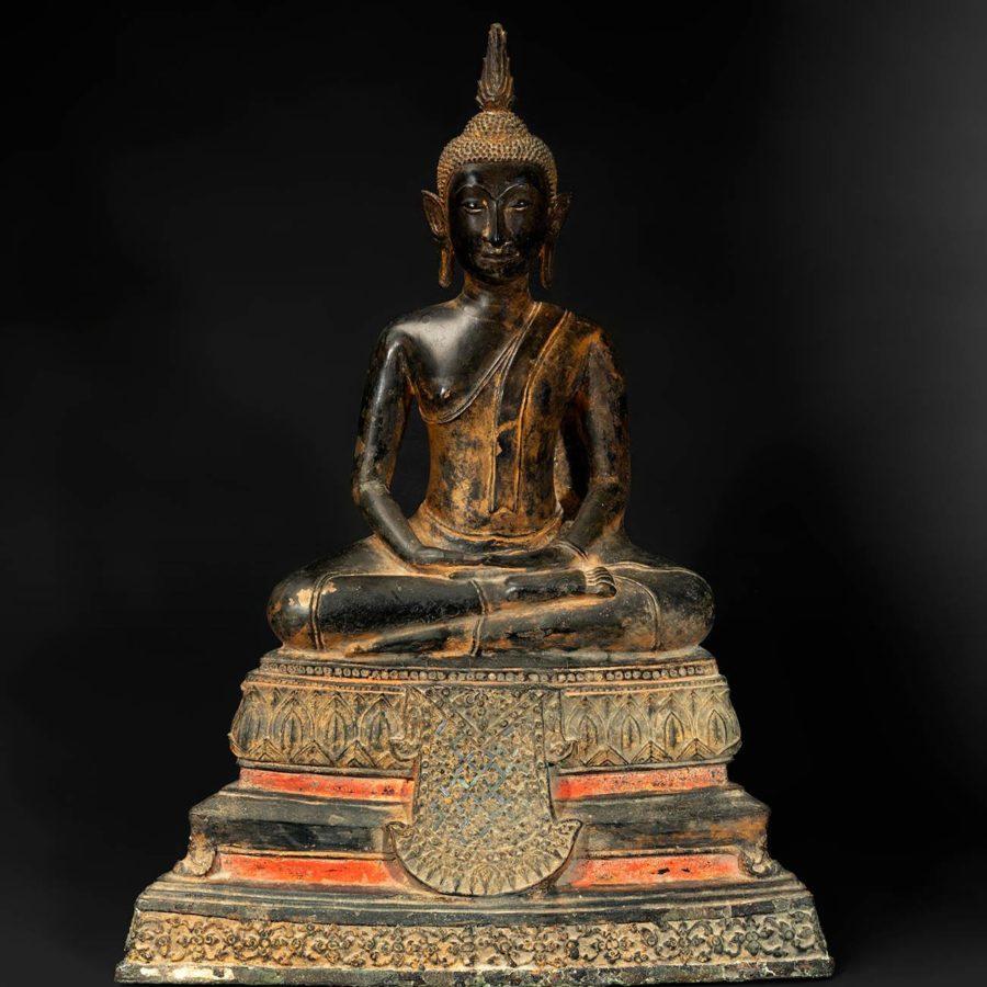Lot: 35220471. Seated Buddha; Thailand, 18th-19th centuries.
