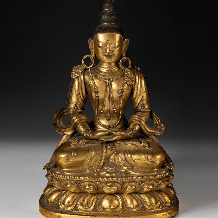Lot: 35220487. Amitayus Buddha. Tibet, 17th-18th century.